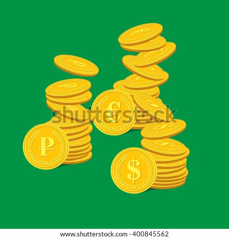Vector illustration of a stack of dollar coins, euros and rubles - stock vector
