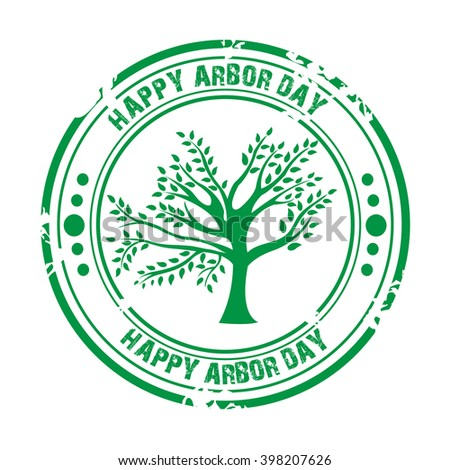 Vector illustration of a stamp for Arbor Day.