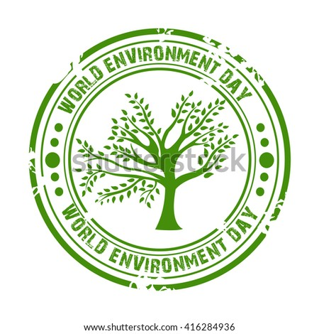 Vector illustration of a stamp for World Environment Day.