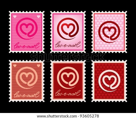 "Vector illustration of a stamp with a heart-email sign. Can be easily colored and used in your design. ""Lov-e-mail"" is a handmade writing. - stock vector"