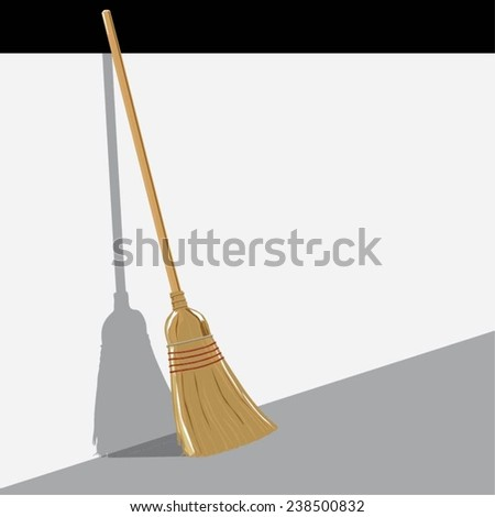 Vector illustration of a standing broom with its shadow - stock vector
