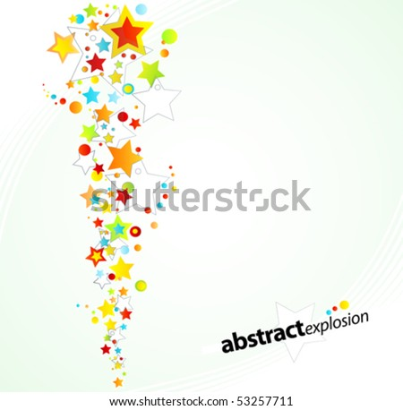 Vector illustration of a starry rainbow explosion design background. - stock vector