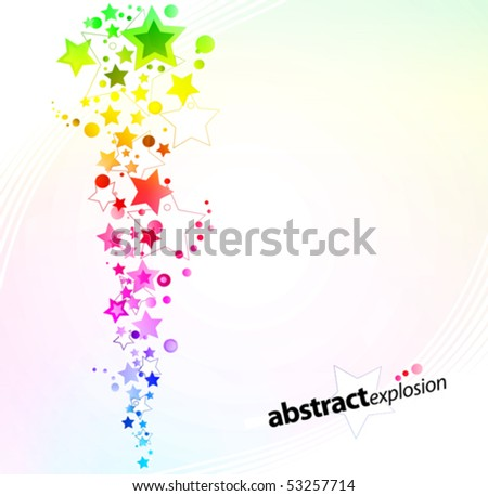 Vector illustration of a starry rainbow explosion design background. Eps10 rainbow overlays included. - stock vector