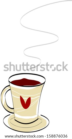 Vector illustration of a steaming cup of coffee