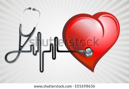 Vector illustration of a stethoscope with a red heart - stock vector