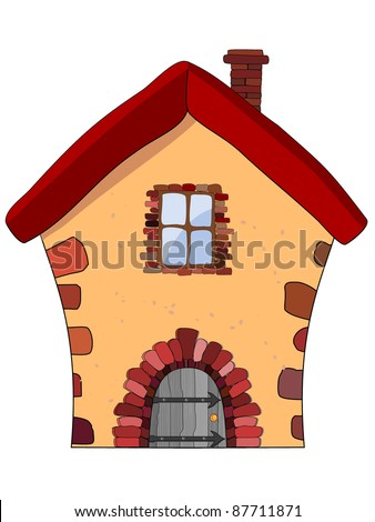 Vector illustration of a stone house - stock vector