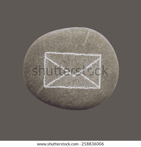 vector illustration of a stone with an icon letter mail - stock vector