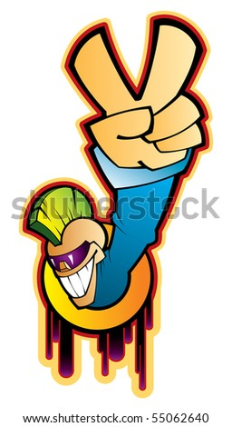 Vector illustration of a styled teen with victory sign. - stock vector