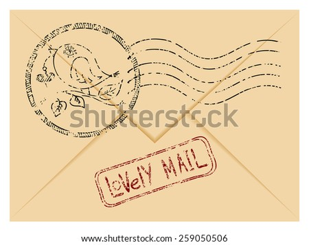 Vector illustration of a stylized envelope with lovely postage stamps on it. Cute bird ink printout. - stock vector
