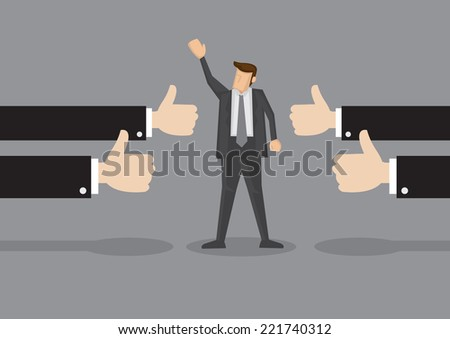 Vector illustration of a successful businessman acknowledging many thumbs up around him. Conceptual design for success and achievement - stock vector