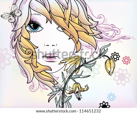 vector illustration of  a summer girl with blooming flowers and butterflies - stock vector