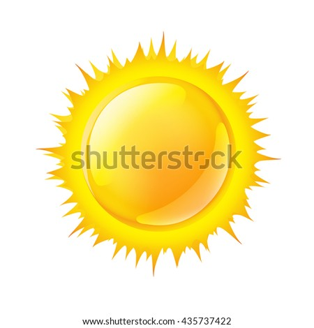 vector illustration of a sun on white - stock vector