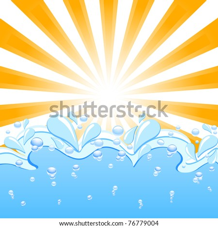 Vector illustration of a sun with the waves and water  drops - stock vector
