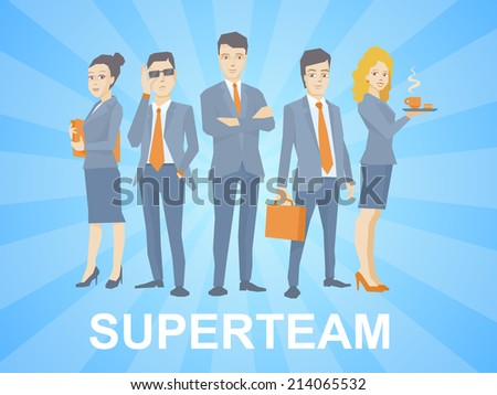 Vector illustration of a super business team of young business people standing together on blue background with comic strips - stock vector