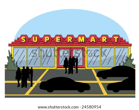 vector illustration of a supermarket.. cars & people contained in clipping mask