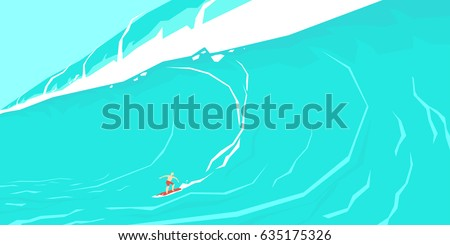 Vector illustration of a surfer sliding on a big wave. A poster in a colorful cartoon style