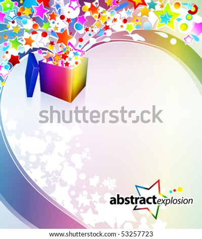 Vector illustration of a surprise gift box exploding into a flow of rainbow stars and bubbles. - stock vector