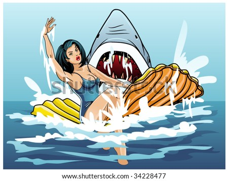 vector illustration of a swimmer being attacked by a shark..shark teeth contained in clipping mask - stock vector