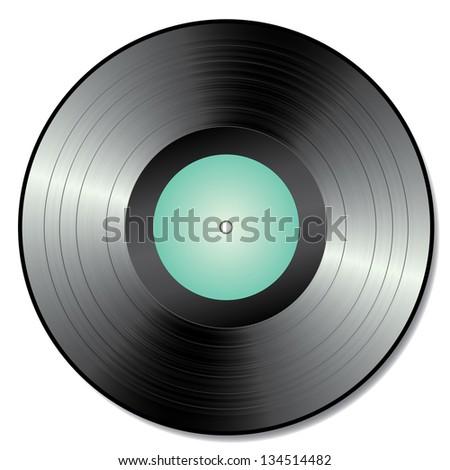 Vector illustration of a teal vinyl. - stock vector
