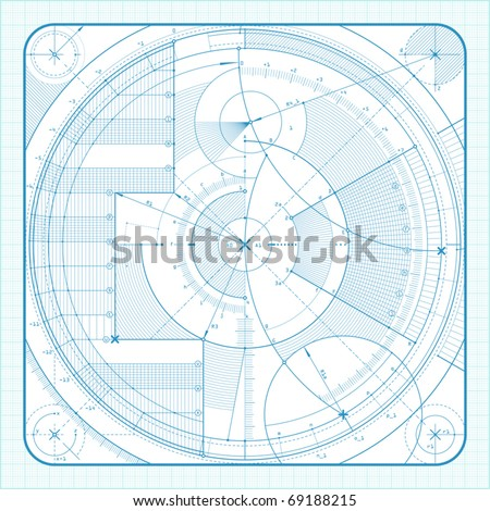 Vector illustration of a technical draft background. - stock vector