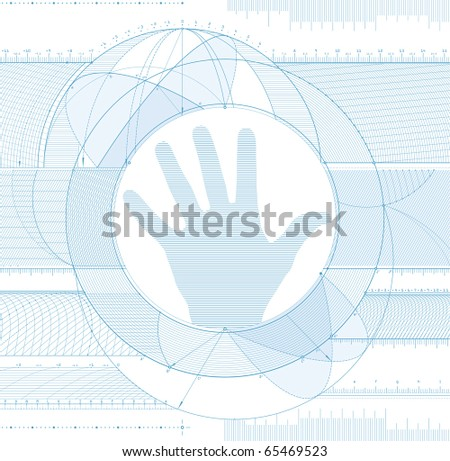 Vector illustration of a technical draft background with an arm silhouette. - stock vector