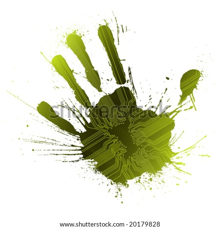 Vector illustration of a technological circuitry hand splatter with highly detailed ink explosion. Green. - stock vector