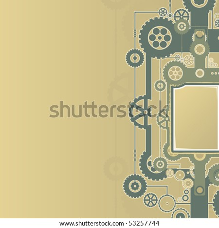 Vector illustration of a technological clockwork cog background. - stock vector