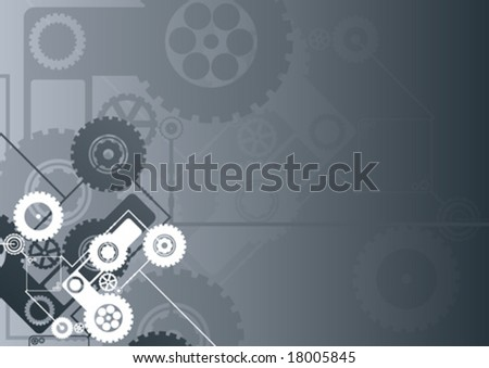 Vector illustration of a technological clockwork cog background in black color. - stock vector