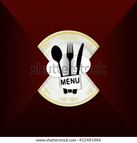 Vector illustration of a template for the cover of restaurant menu with plate and hat chef, on the background of the texture of red fabric. - stock vector
