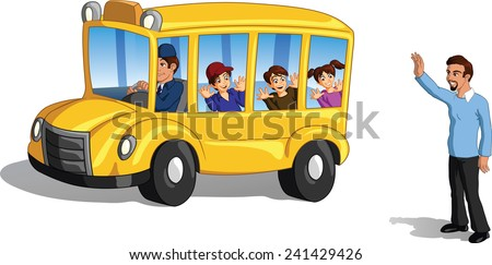 father waving goodbye to his kids on a school bus. - stock ...