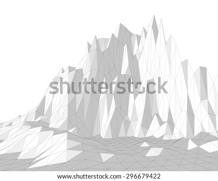 Vector illustration of a three-dimensional wireframe landscape consisting of triangular polygons
