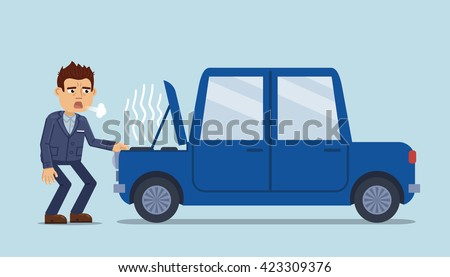 Vector illustration of a tired businessman standing near a broken car