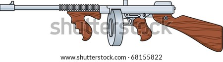 Vector illustration of a Tommy Gun - stock vector