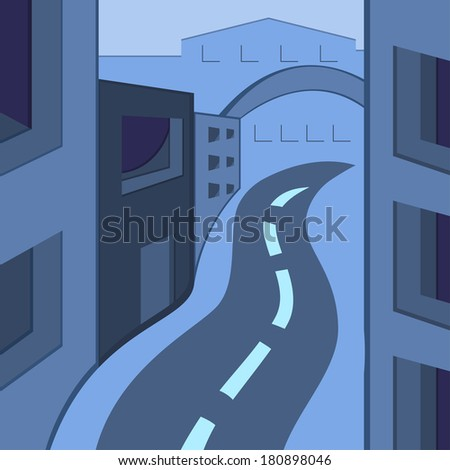 Vector illustration of a town in gray-blue colors, modern city, card, rise, street, road, road lifting, afar - stock vector