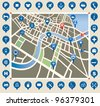 Vector illustration of a town map. - stock