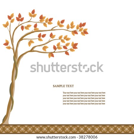 Vector illustration of a tree with yellow and red leaves