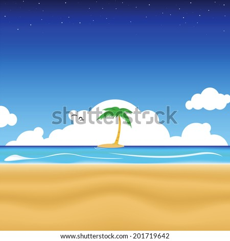 vector illustration of a tropical beach - stock vector