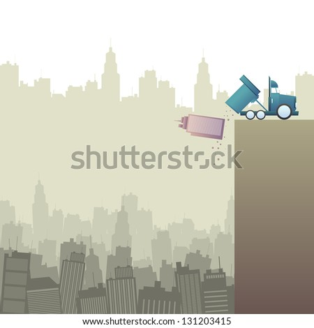 Vector illustration of a truck throwing out an office building into a pit full of office buildings.