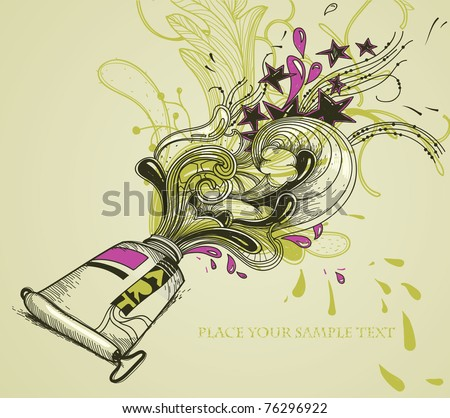 vector illustration of a tube with pink paint and abstract plants, stars and waves - stock vector