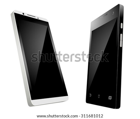 Vector illustration of a two smartphones on white