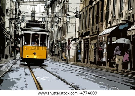 Vector illustration of a typical yellow tram in Lisbon downtown - Portugal - stock vector