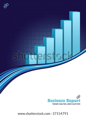 vector illustration of a upward direction graph on a blue business background - stock vector