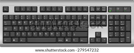 Vector illustration of a US English qwerty computer keyboard. All sections are well organized and sorted for designer convenience. Silver black color.