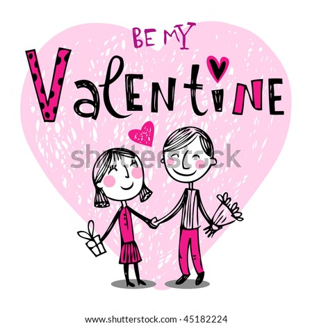 Vector illustration of a valentines couple, may be used as Valentine card. - stock vector