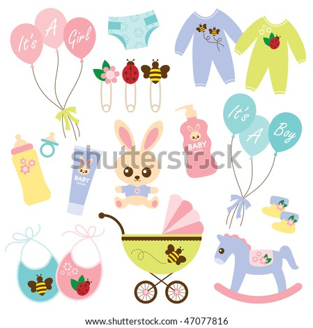 Vector illustration of a variety of baby products. - stock vector
