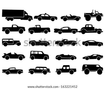 Vector illustration of a variety of cars