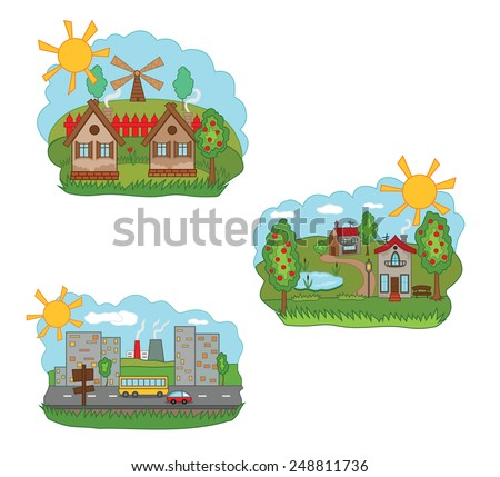 Vector illustration of a village and city - stock vector