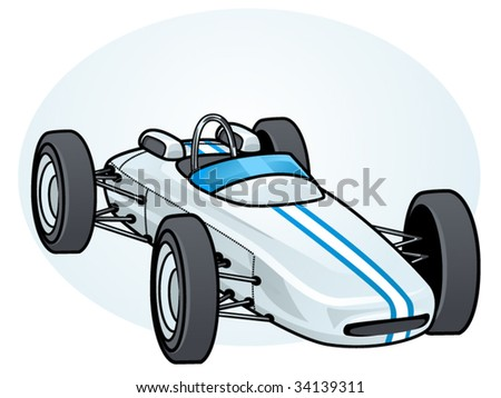 vector illustration of a vintage formula 1 race car - stock vector