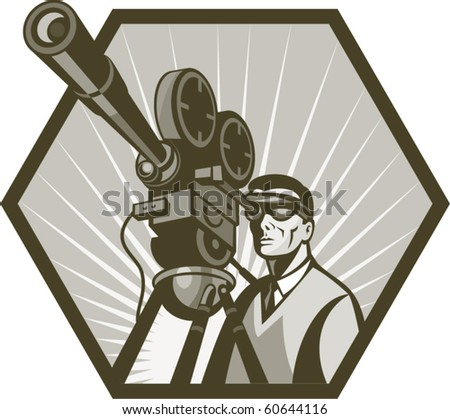 vector illustration of a Vintage movie or television film camera and director viewed from a low angle done in retro style. - stock vector