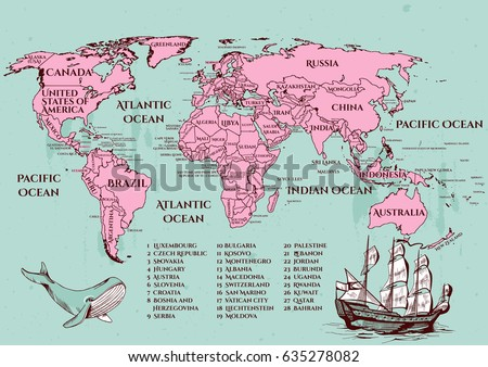 Vector illustration vintage style world map stock vector hd royalty vector illustration of a vintage style world map with all the official countries on 2017 year gumiabroncs Gallery
